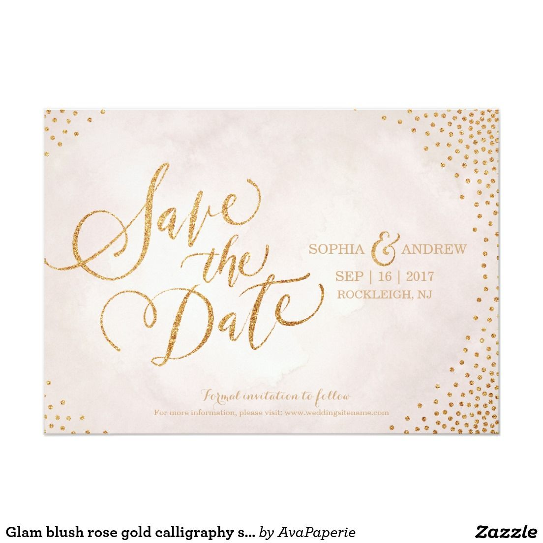 Glam blush rose gold calligraphy save the date | Marriage Ideas ...