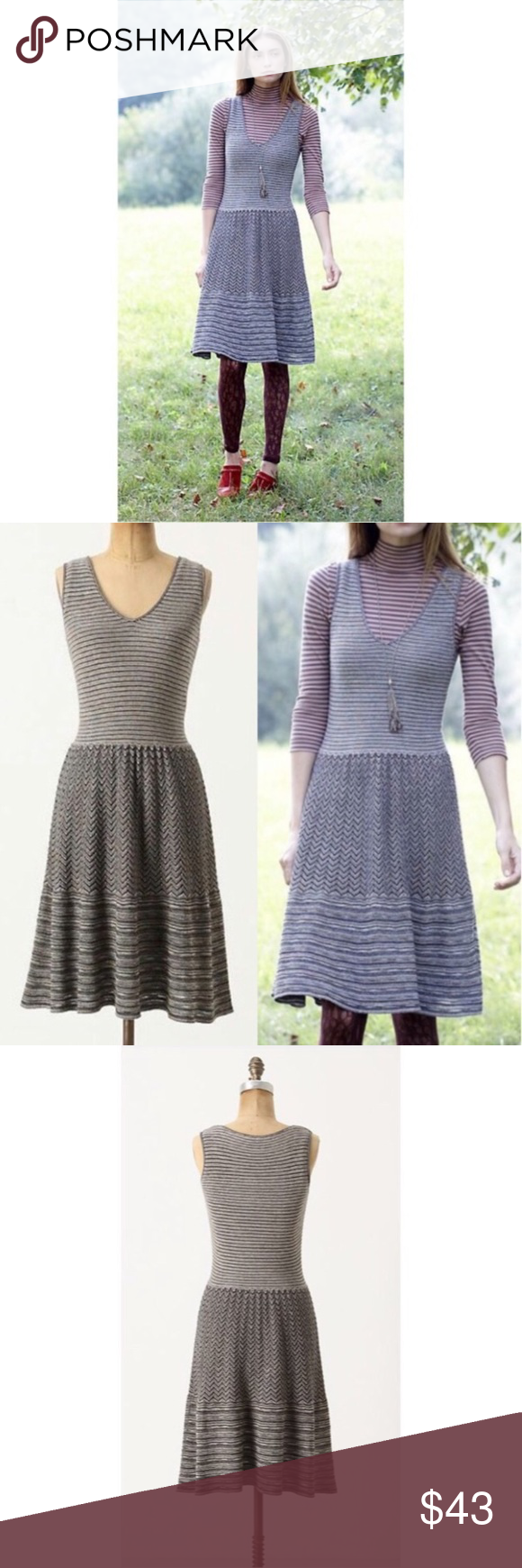 6cefabab1f3f2 Anthropologie Test Pattern Sweater Dress EUC Layered and lined with layers  of lines, this silver