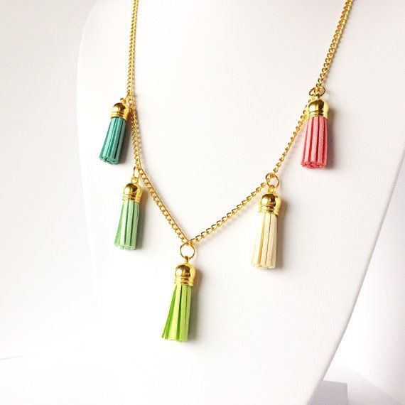 Short tassel necklace 'SPRING BLOSSOM' // Layering necklace with 5 pastel…
