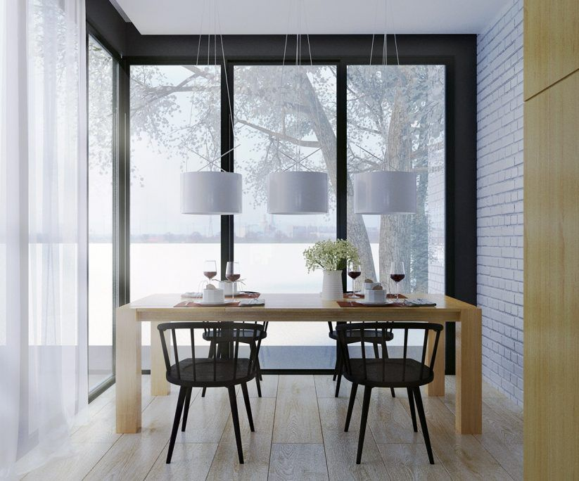 Dining Table In White Area Rug Scandinavian Style Dining Room