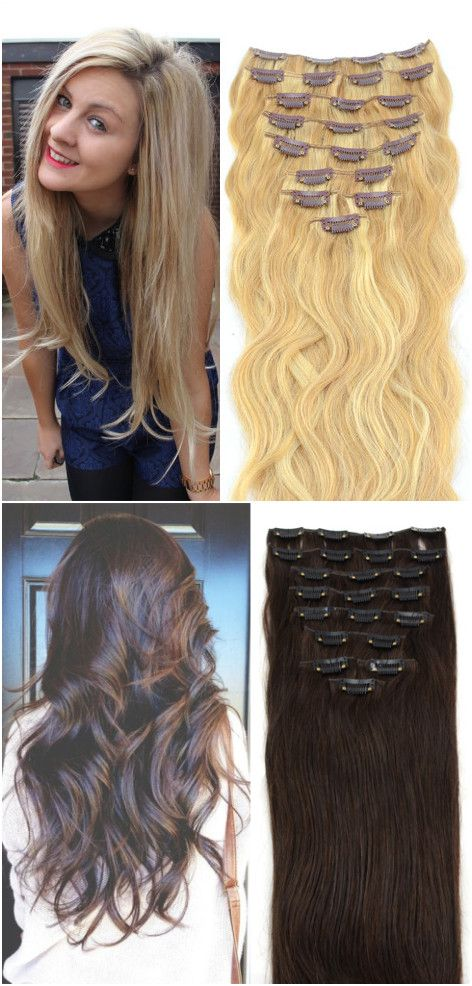 Pretty Long Wavy Hair With Clip In Hair Extensions From Human Hair