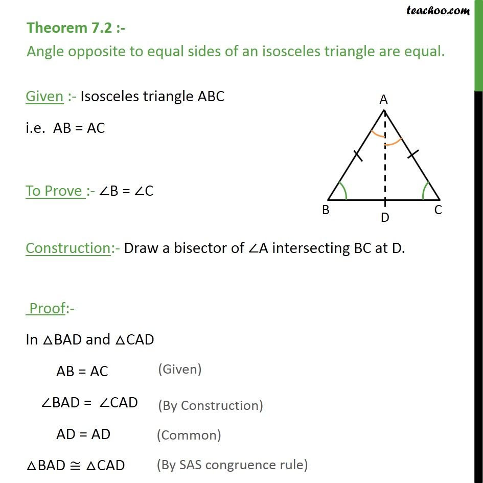 Theorem 7.2 - Class 9th - Angle opposite to equal sides of an isosceles  triangle are equal. - Theorem…   Theorems [ 945 x 945 Pixel ]