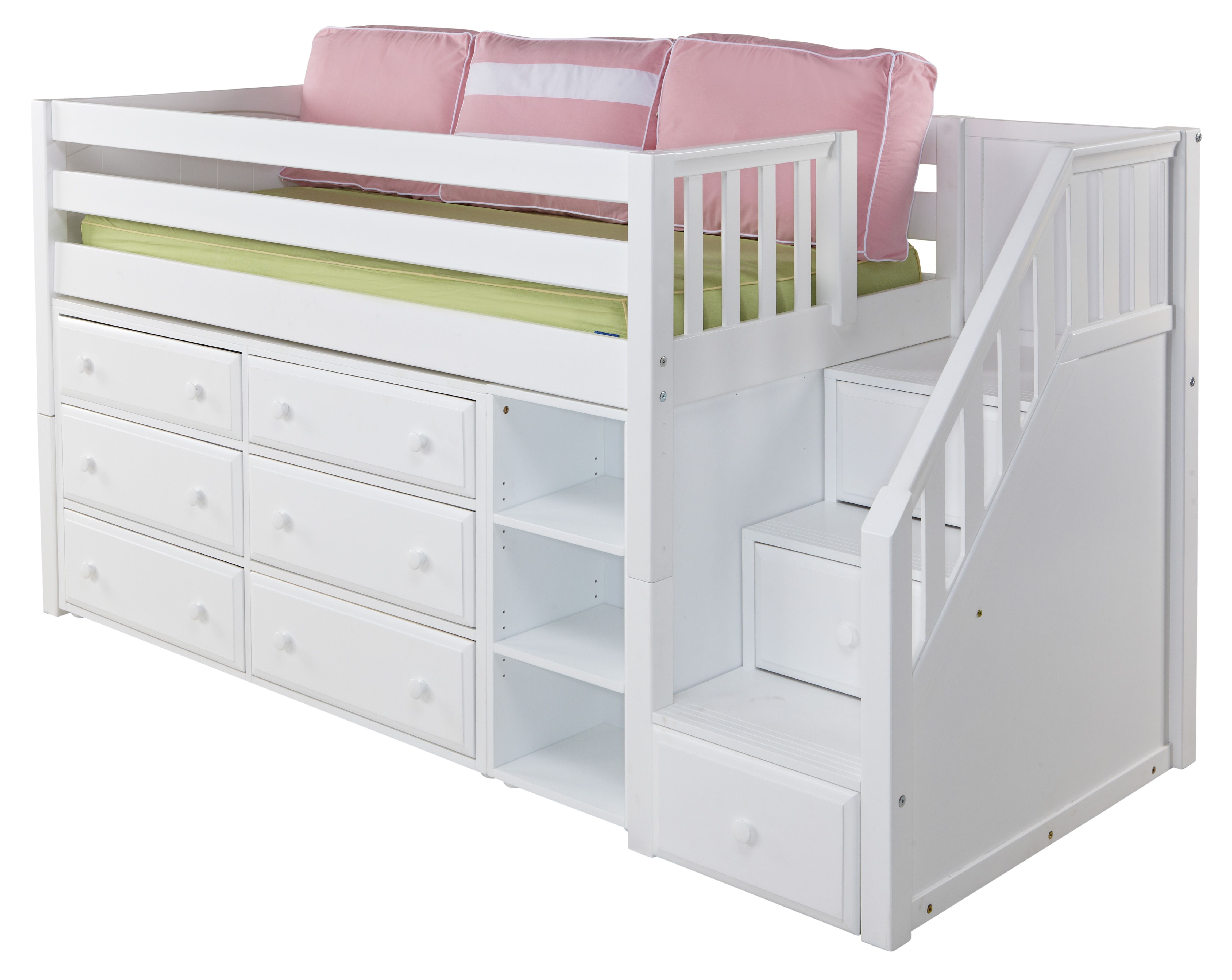 Low loft bed with stairs and storage  The most AWESOME bed EVER for a kid with a small room  kids room
