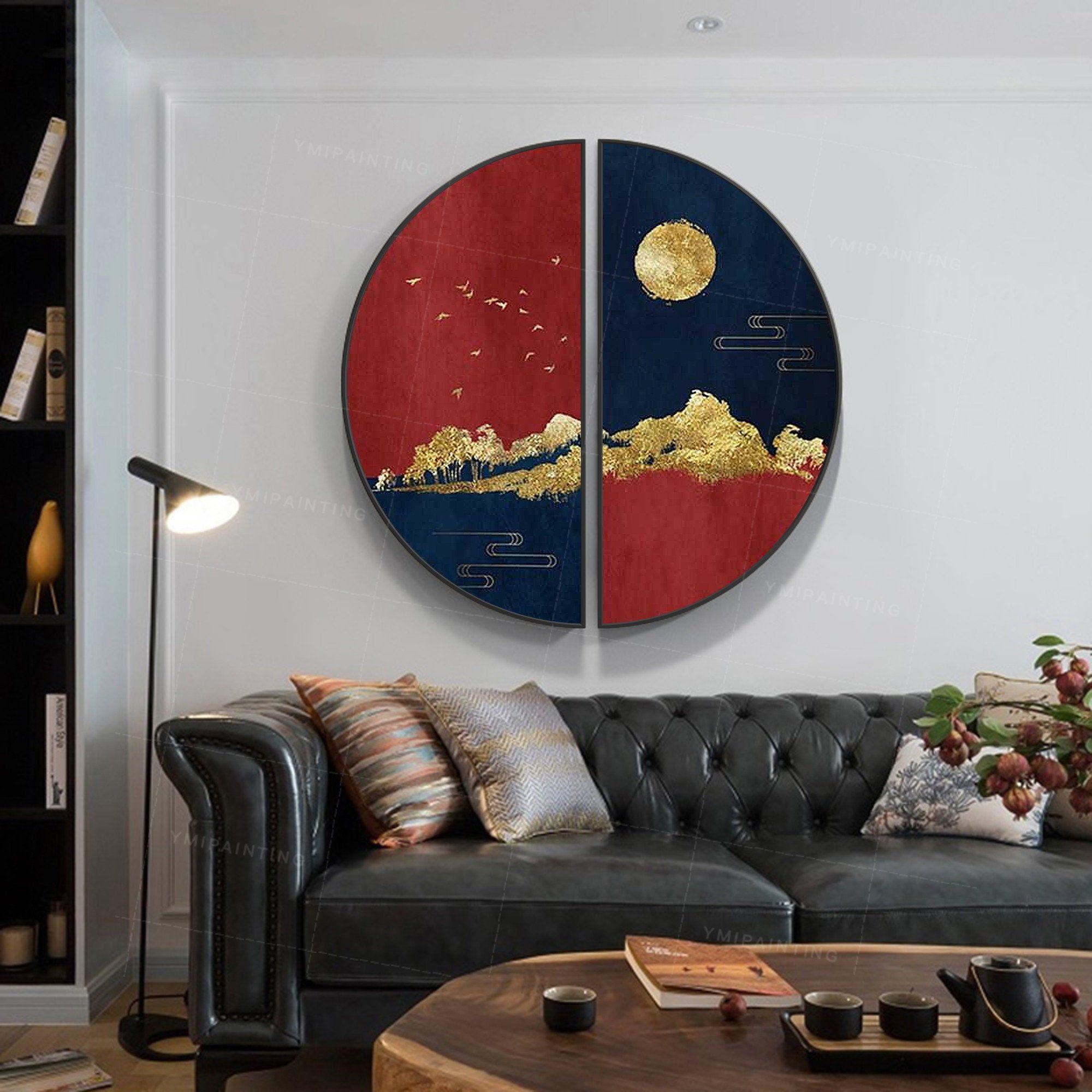 Gold art set of 2 wall art gold mountain navy blue