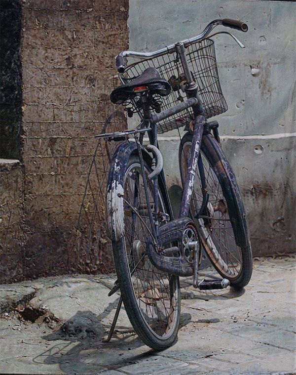 Paintings of bicycles by Chinese artist Pan Xun