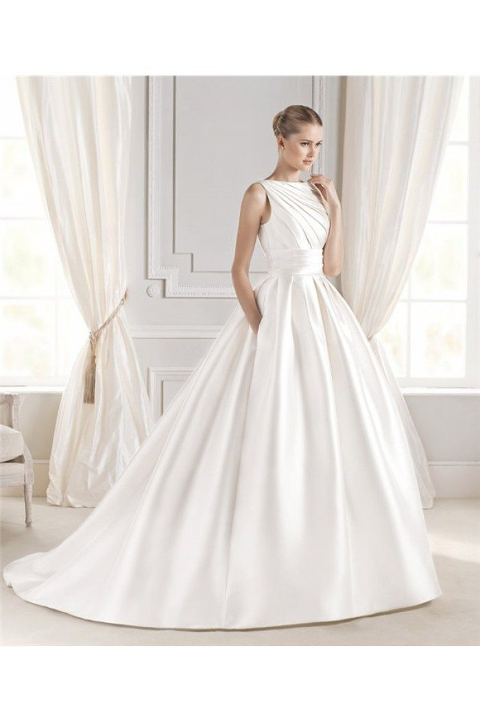 Ball Gown Boat Neck Satin Ruched Wedding Dress With Pockets Ons
