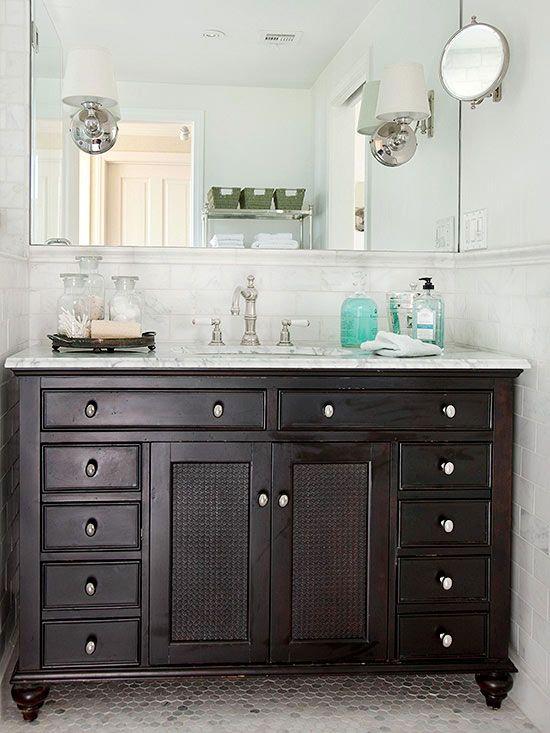 LowCost Bathroom Updates Hexagon Floor Tile Dark Wood Stain And - Quick bathroom updates
