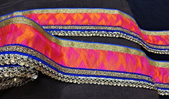 Indian Lace, Embroidered Trim, Decorative Ribbon, Ethnic Trim, Saree  Border, Fabric