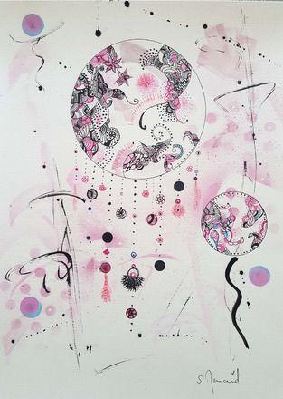 dessin attrape r ves rose violet noir bleu sur papier blanc 30 x 42 cm technique mixte vendue. Black Bedroom Furniture Sets. Home Design Ideas