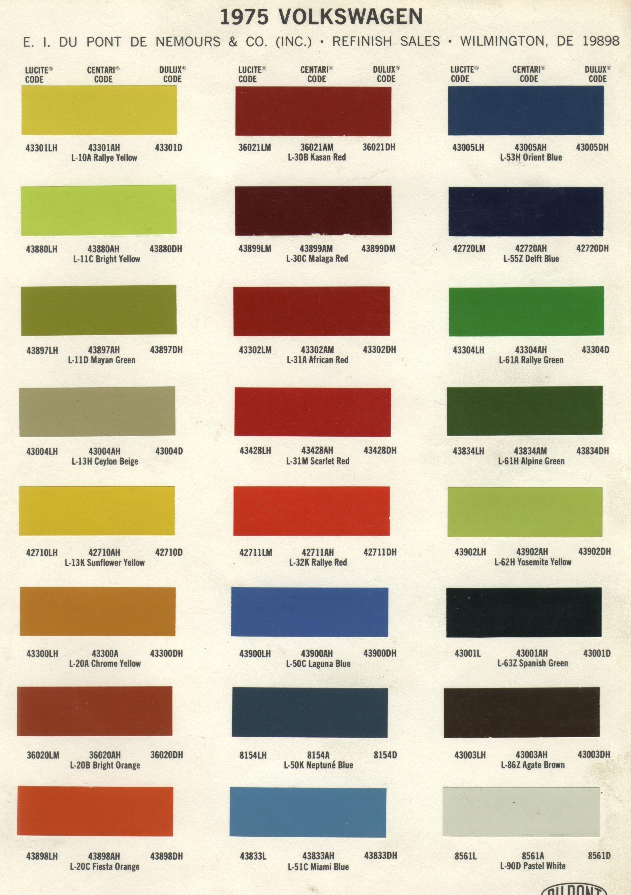 Colour chart for car paint - 1975 Volkswagen Colors 1975 Volkswagen Colors Catalogue