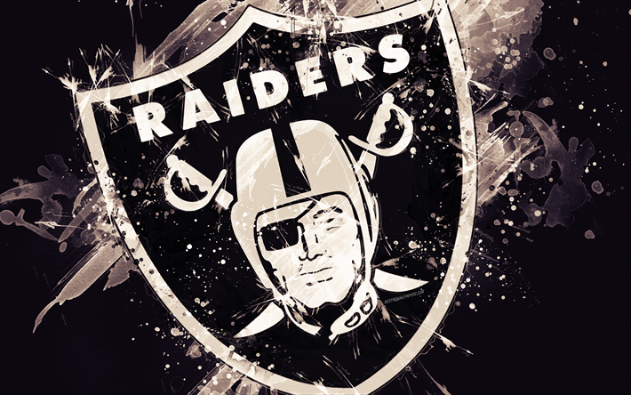 Download wallpapers Oakland Raiders, 4k, logo, grunge art