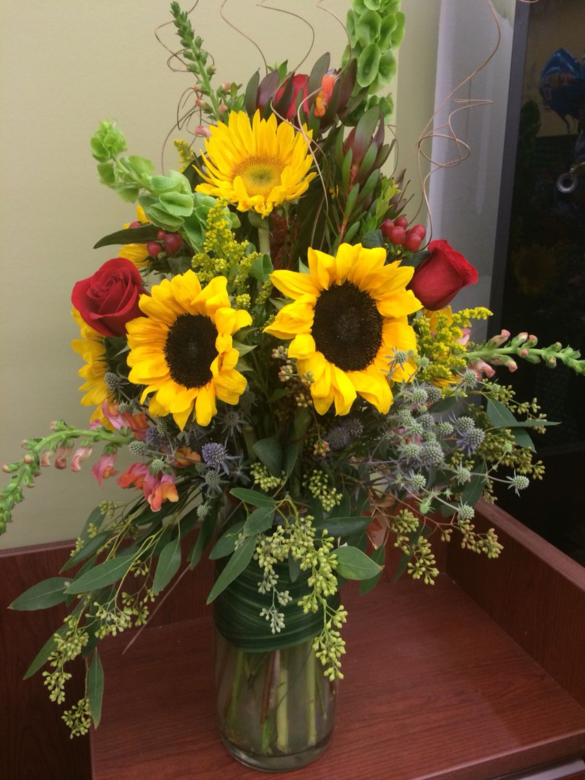 Sunflower arrangement with red roses   Sunflower floral ...