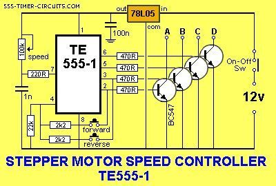 stepper motor controller te555 1 circuit electronic stuff rh pinterest com Arduino Stepper Motor Circuit Stepper Motor Control Panel