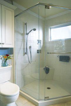 ** white molding top of shower bathroom - contemporary