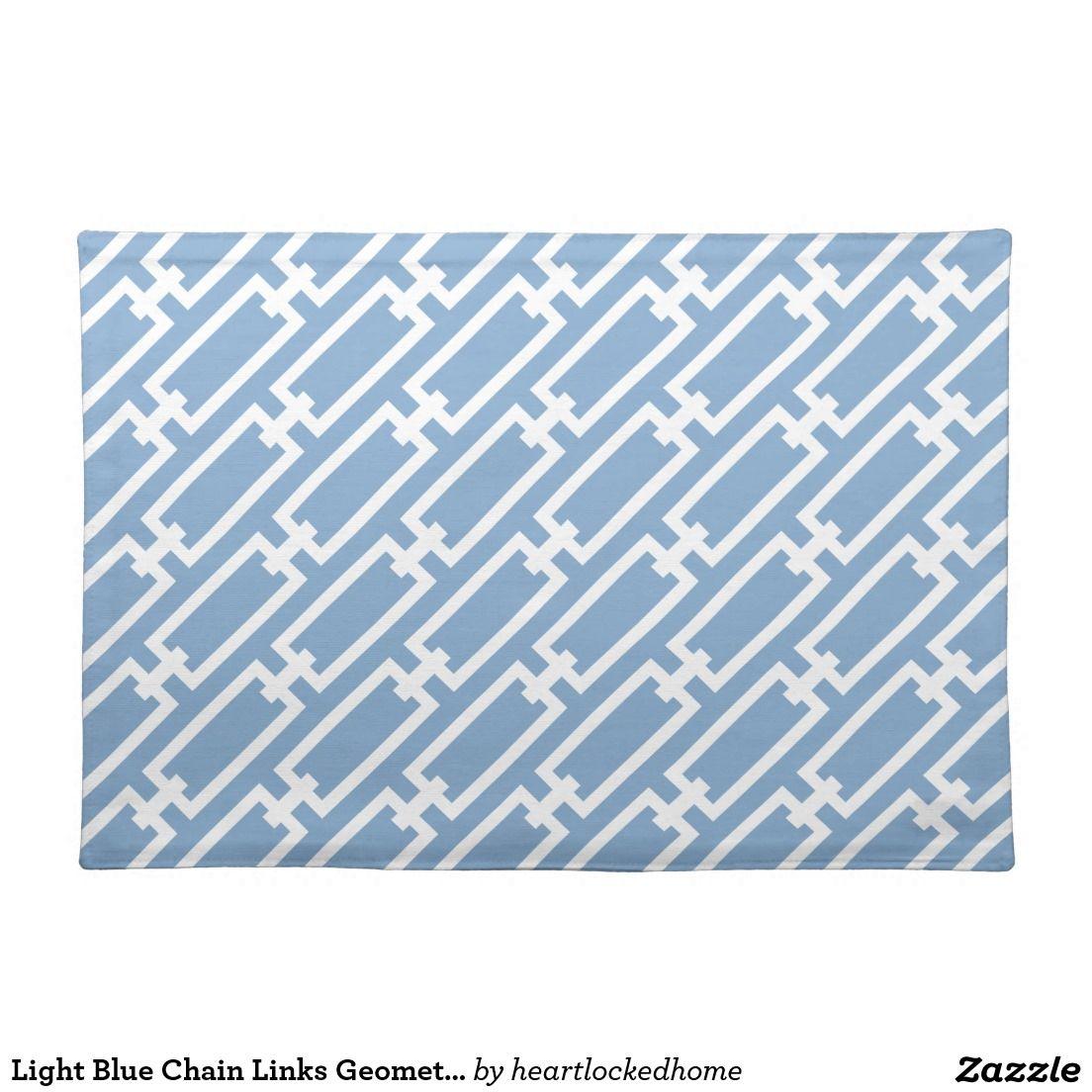 Light Blue Chain Links Geometric Pattern Cloth Placemat Geometric Pattern Clothing Patterns Geometric
