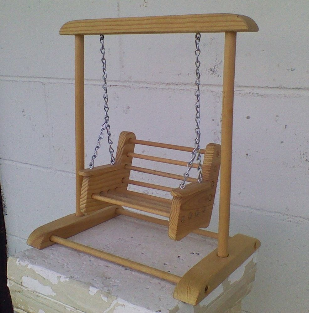 Wooden Barbie Doll Size Swing Indoor/Outdoor Doll House Furniture Porch  Swing