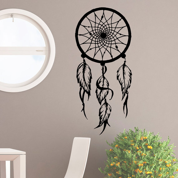 feather dream catcher wall decal bohemian stickers large boho wall