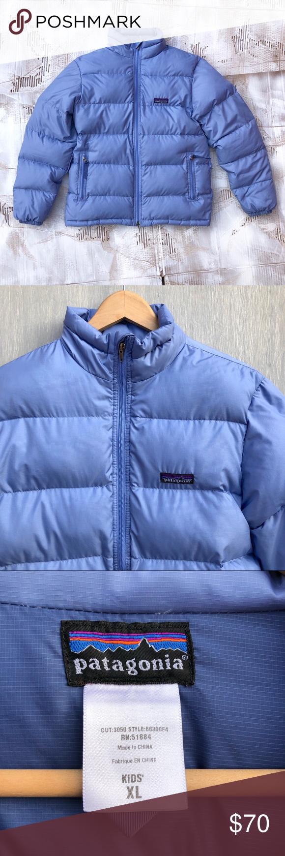 Kids Patagonia down puffer coat light blue XL Kids