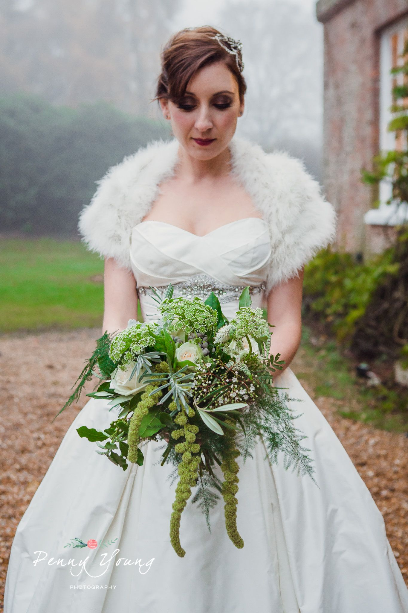 Green and white wedding dress  Bridal bouquet by Darling and Wild Creative Florist in Tunbridge