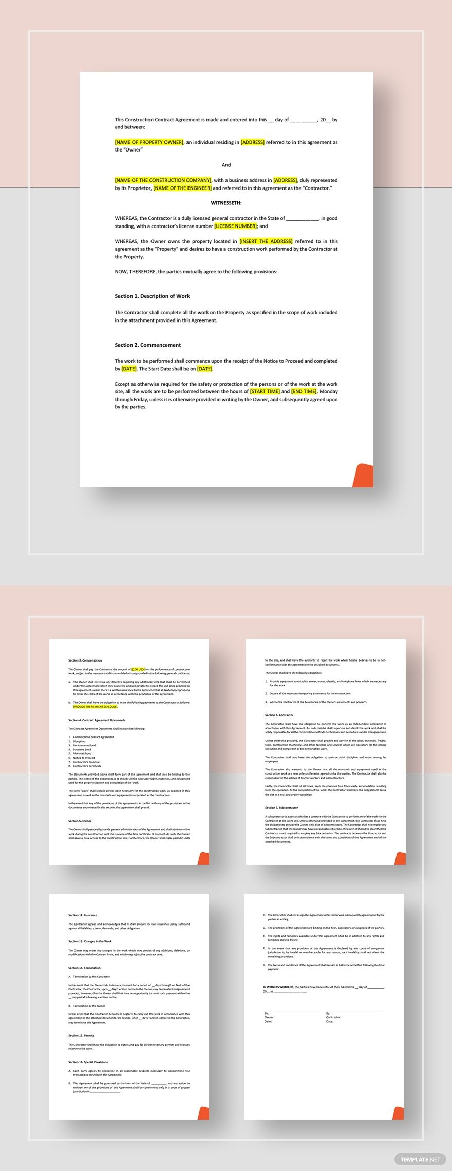 Construction Contract Agreement Template Word Doc Google Docs Apple Mac Pages Construction Contract Contract Agreement Sims House Plans Construction contract template microsoft word