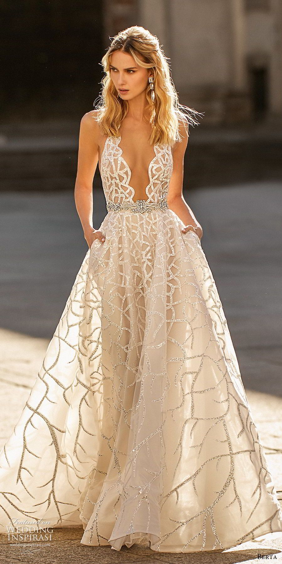 berta spring 2020 bridal sleeveless hatler neck plunging neckline fully embellished a line ball gown wedding dress (14) champagne glitzy princess chapel train mv -- Berta Spring 2020 Wedding Dresses   Wedding Inspirasi #wedding #weddings #bridal #weddingdress #weddingdresses #bride #fashion  ~ #bertaweddingdress