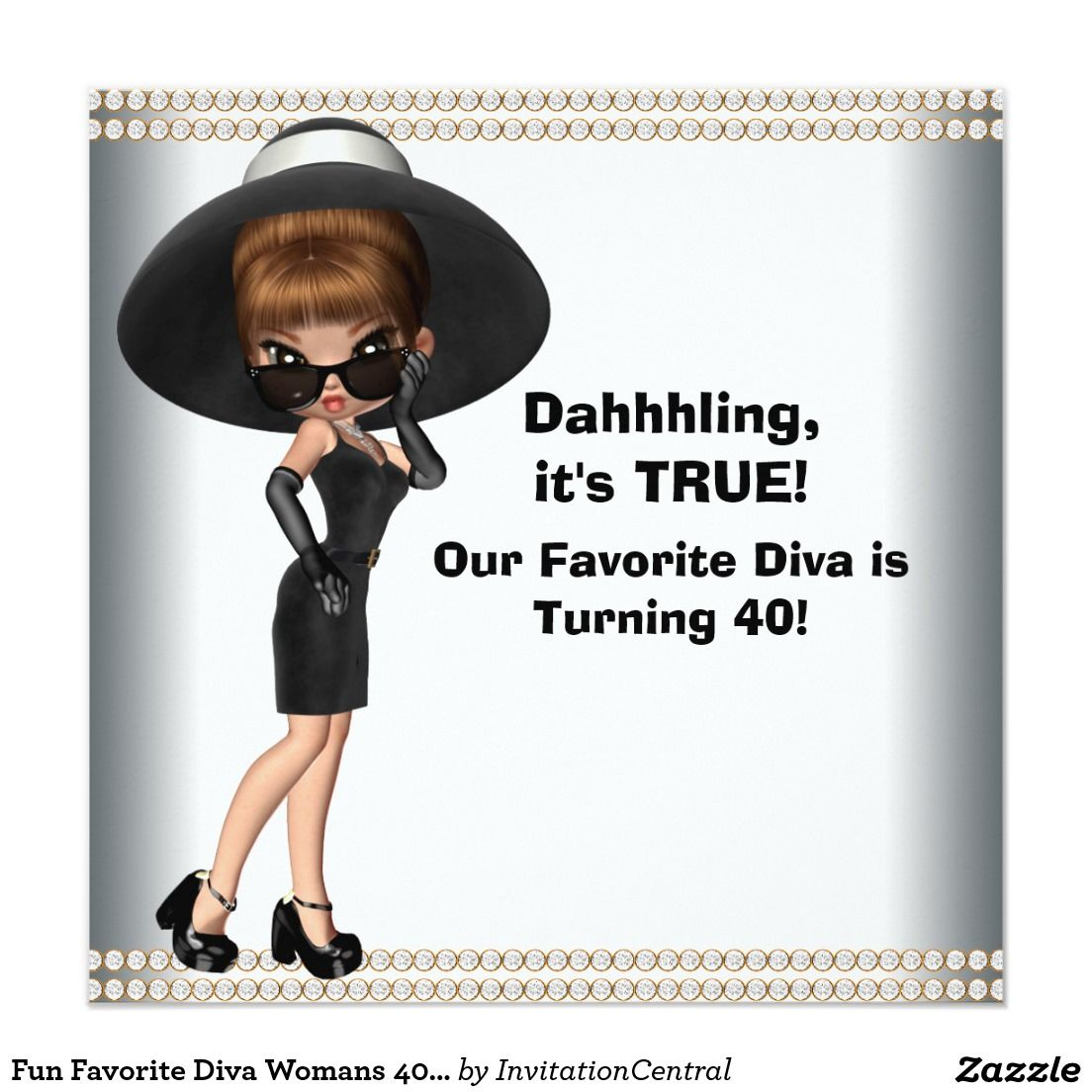 Fun Favorite Diva Womans Any Number Birthday Party Invitation 40th