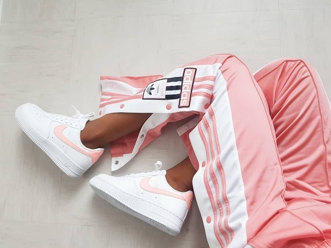 best website 995e3 f253a Nike Air Force 1  07 Patent White Oracle Pink - cool sneakers. Girl wearing  cool Nike shoes with adidas pink tracksuit bottoms.