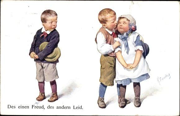 Artist Postcard Feiertag, Karl, Des einen Freud, des andern Leid, Liebespaar, Kinder