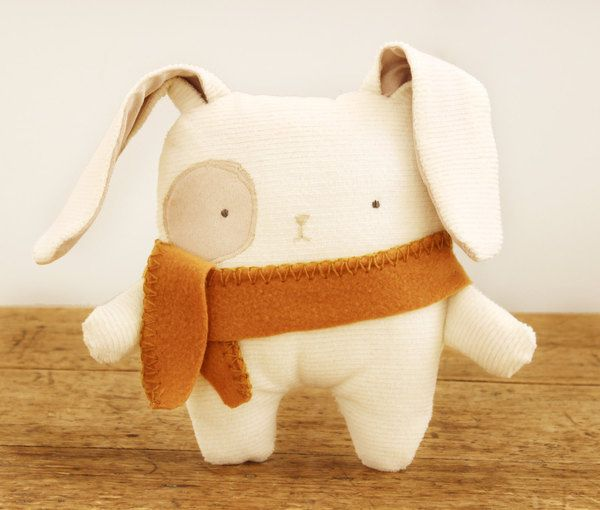 Bunny Softie Nursery Decor Eco Friendly Upcycled Fabric Handmade ...