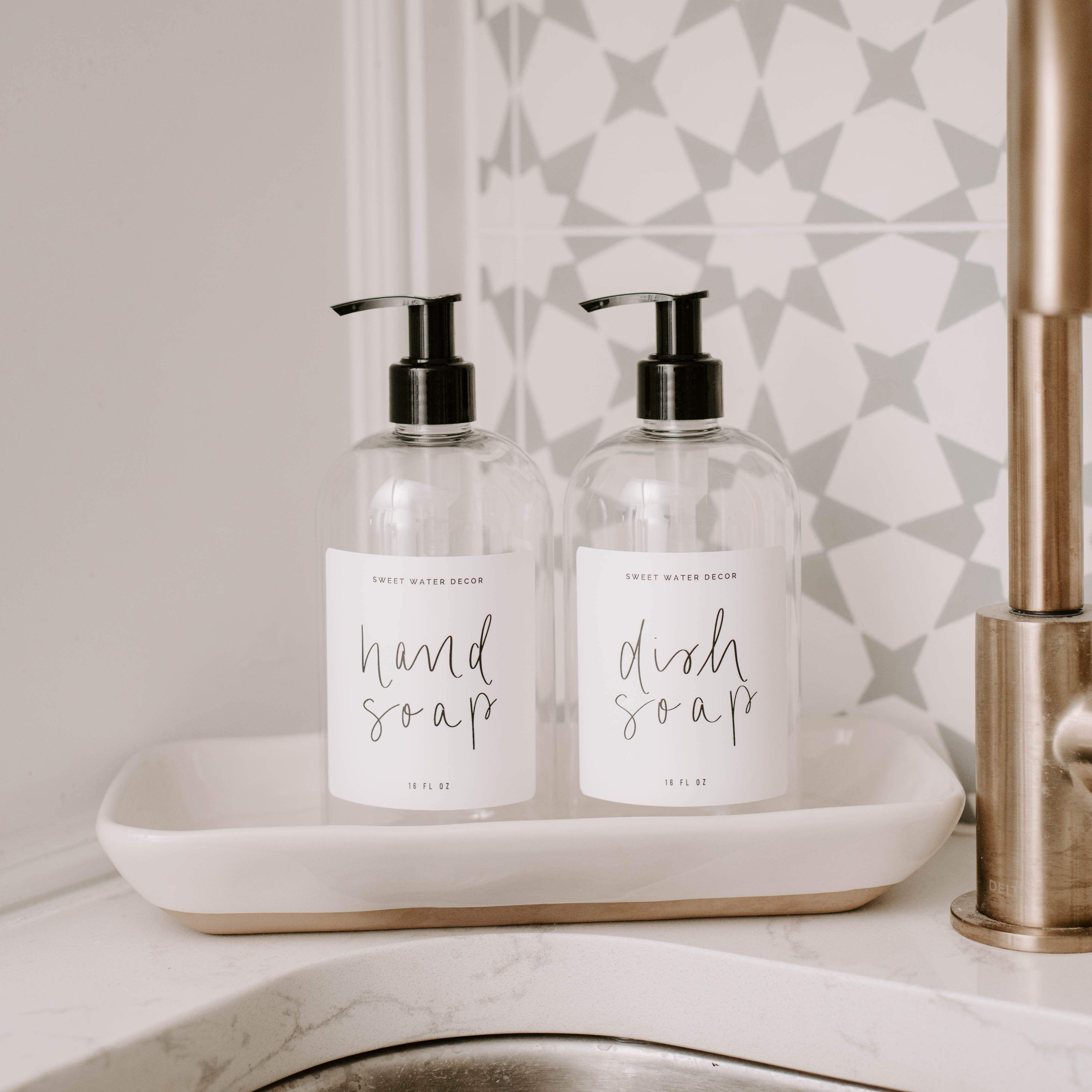 16oz Clear Plastic Countertop Dispenser Set White Label In 2021 Dish Soap Dispenser Hand Soap Dispenser Soap Dispenser