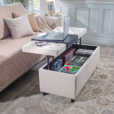 This Lift Top Multiple Use Storage Ottoman Can Be Used As A Coffee Table