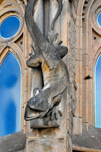 Barcelona Sagrada Família - Serpent gargoyle on a tower