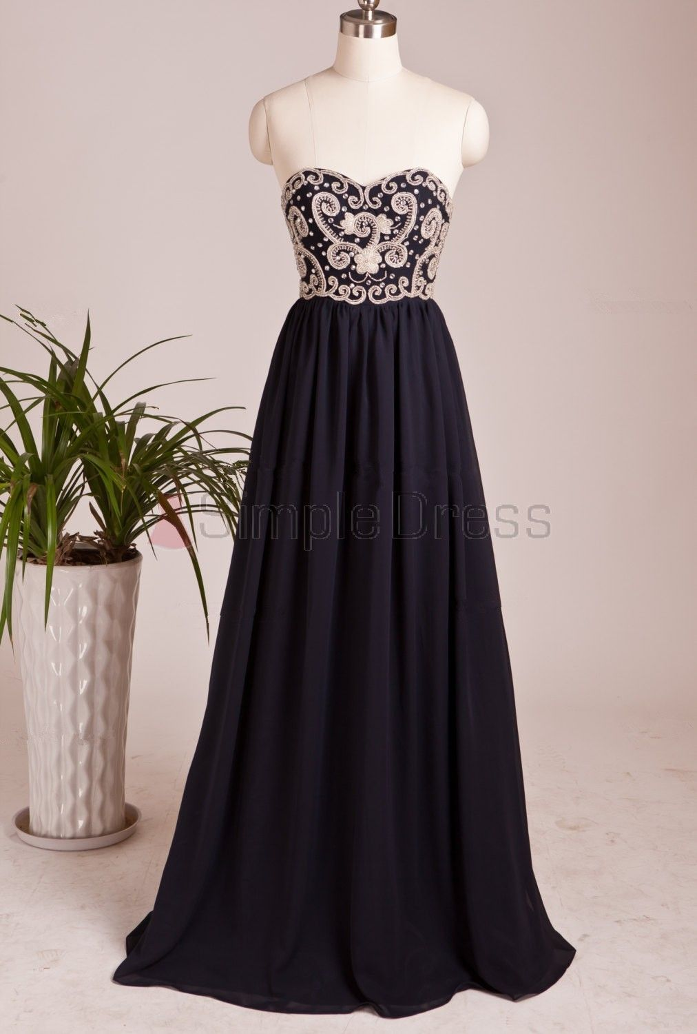 Buy simple dress handmade sweetheart long navy chiffon prom dresses