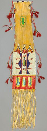 Sioux Beaded Fringed and Quilled Hide Tobacco Bag C 1880s