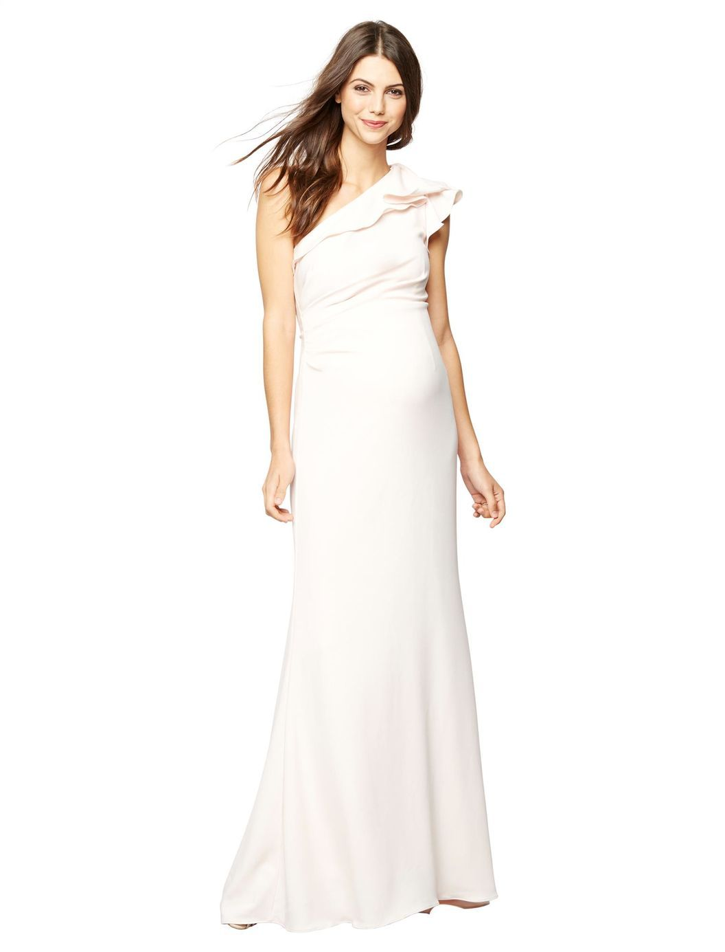 Carmen marc valvo ruffled maternity gown a pea in the pod