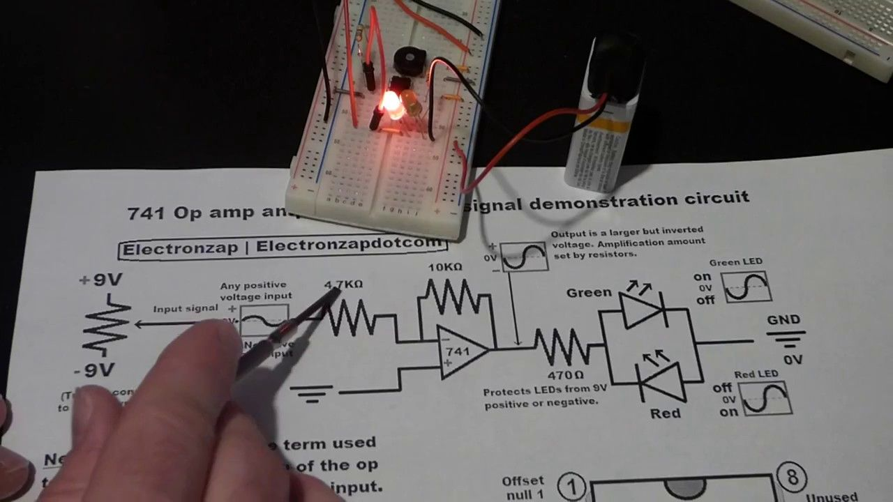 electronics 741 op amp inverting demonstration circuit with negative fee  [ 1280 x 720 Pixel ]