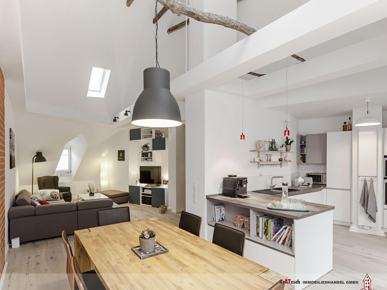 Zentraler Punkt dieser familienfreundlichen Wohnung ist der groe offene Raum mit Kche Ess