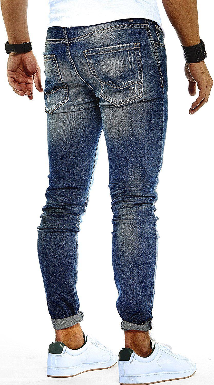 LEIF NELSON Herren Hose Jeans Stretch Jeanshose Freizeithose Denim Slim Fit  LN9945BL; W30L32, Blau