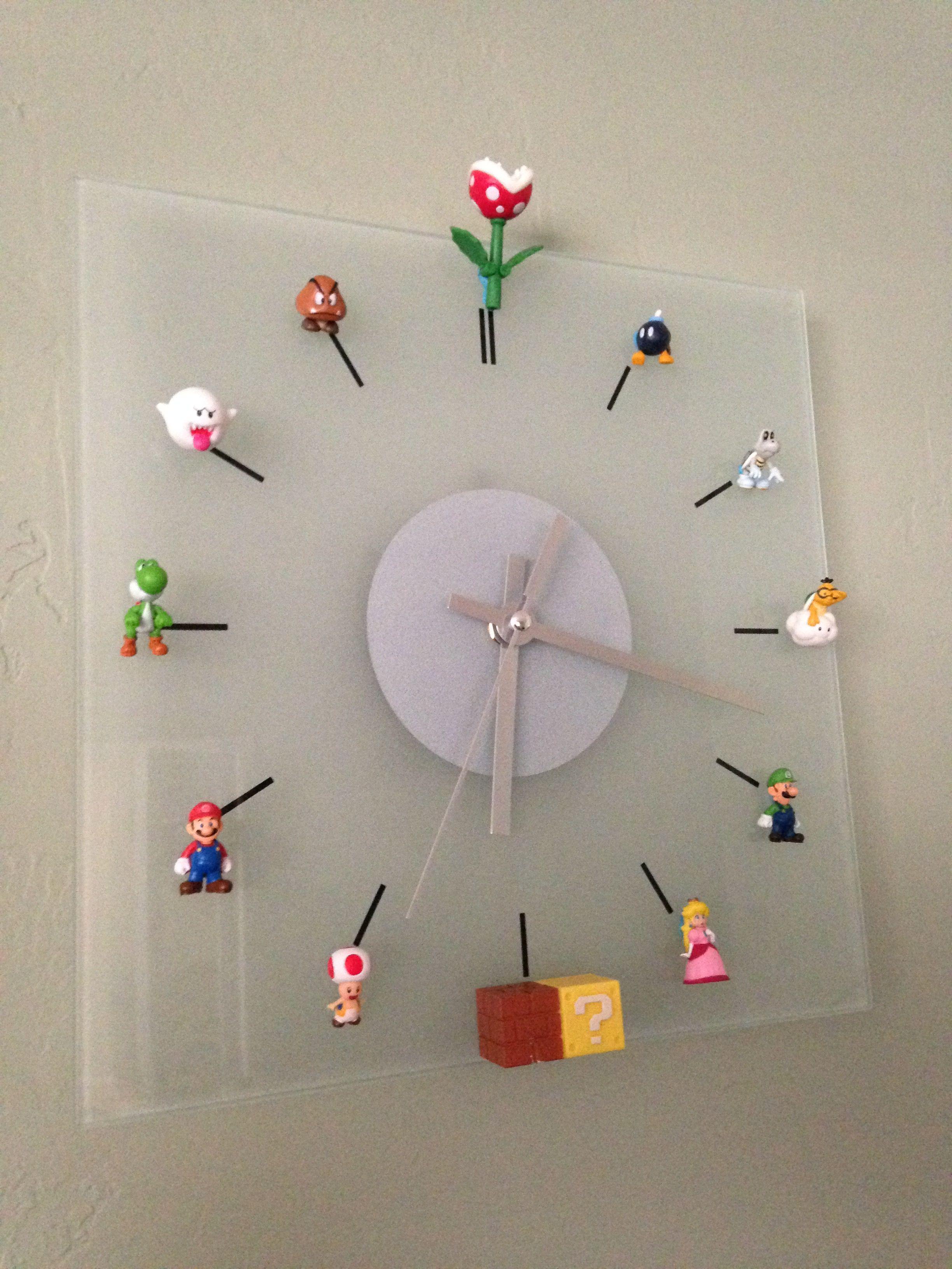 Diy mario bros clock toys and things for kids deco salle de jeux deco gamer et salle de jeux - Deco chambre mario ...
