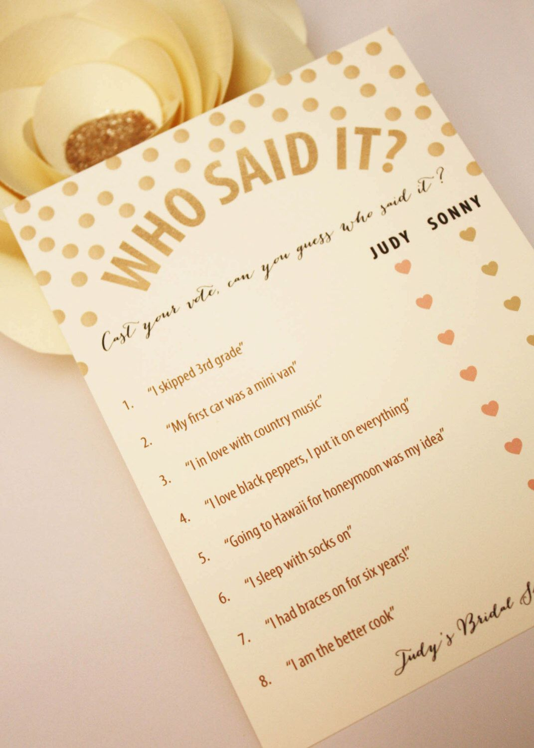 Printable Personalized Bridal Shower Game Who Said It Gold