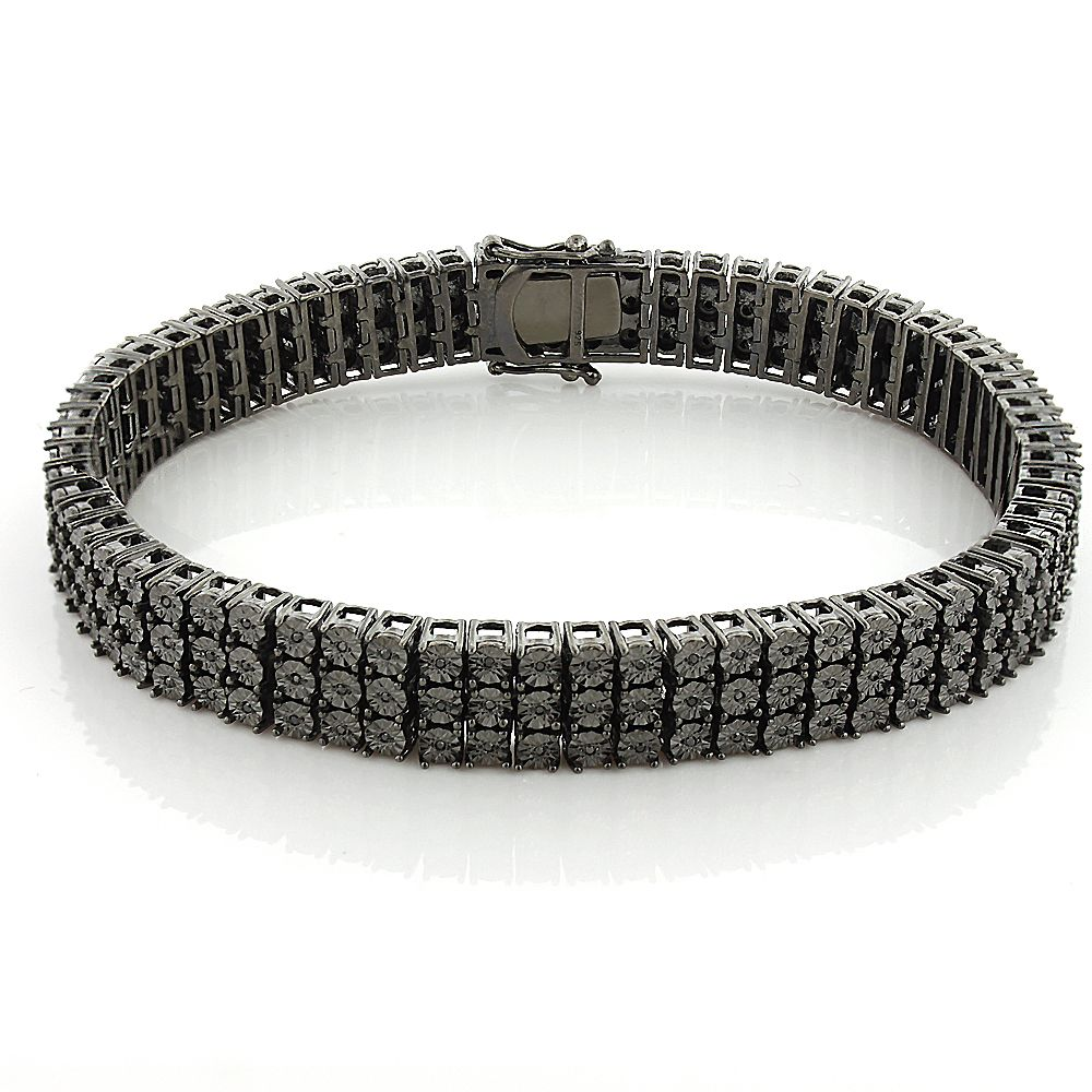 This Beautiful Mens 3 Row Black Diamond Bracelet In Sterling Silver Weighs Approximately 40 Gra Black Diamond Bracelet Bracelets For Men Black Diamond Necklace