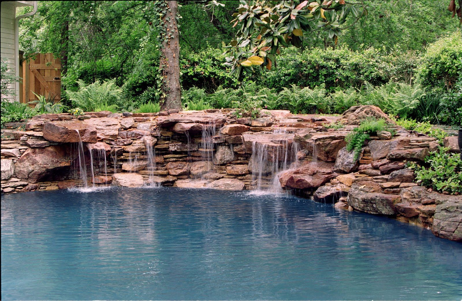 Again With The Love For The Natural Looking Swimming Pool Pool Landscape Design Pool Waterfall Waterfall Landscaping