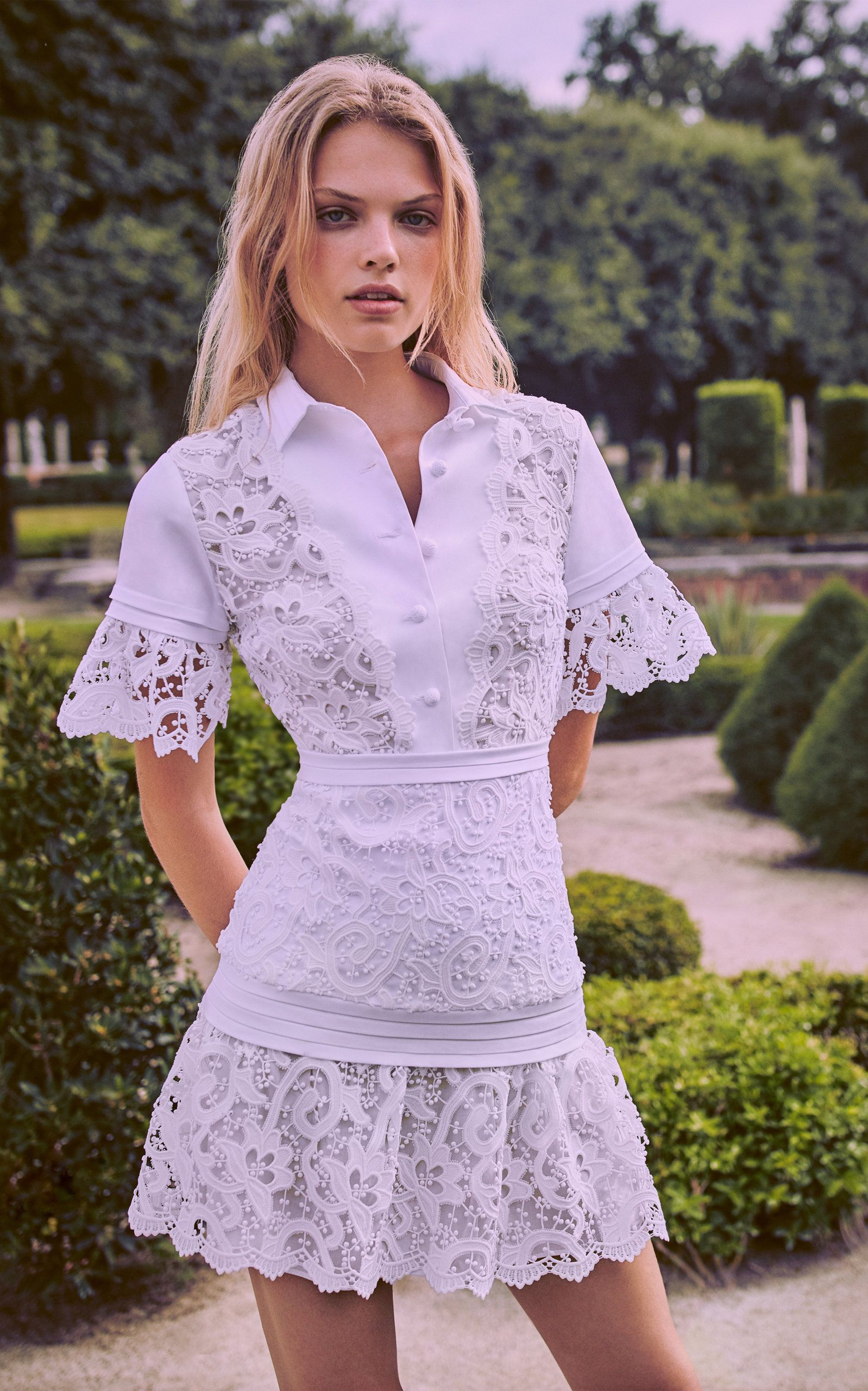 Alexis Liberty Guipure Lace Paneled Mini Dress