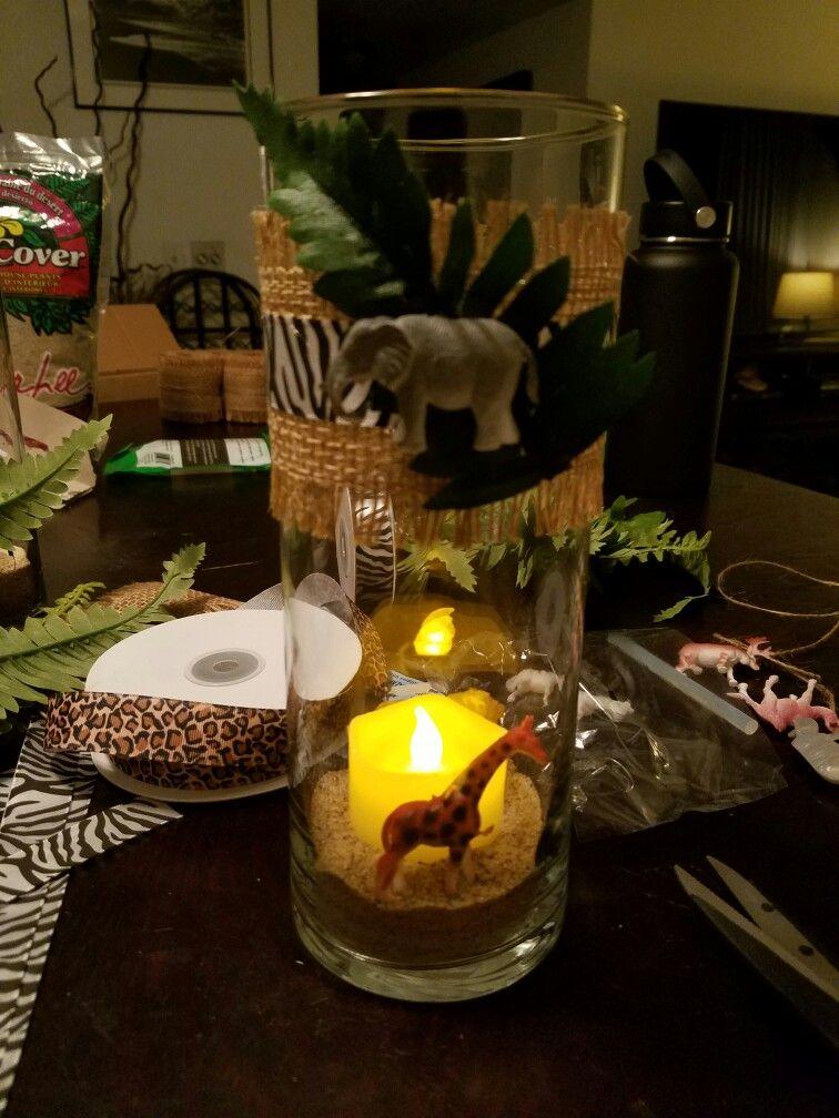 Baby Shower Vases/Jungle Theme. | Jungle Theme Baby Shower ...