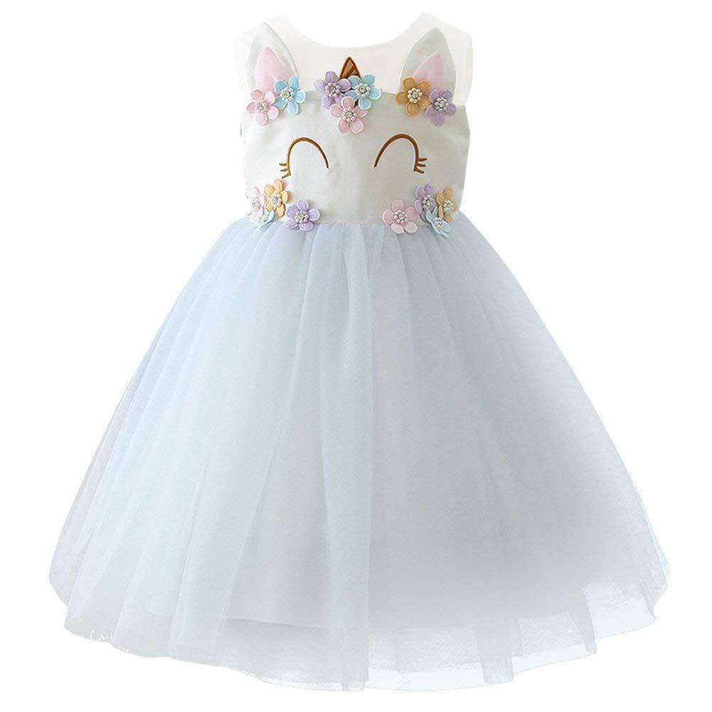 6e12595845 IBTOM CASTLE Niña Princesa Vestido Unicornio Disfraz de Flor Cosplay para  Fiesta Carnaval Bautizo Cumpleaños Comunión