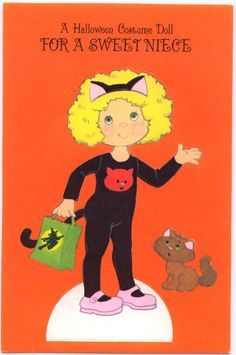 "American Greetings Halloween ""To Niece"" PAPER DOLL CARD (HALLOWEEN NIECE 1)"