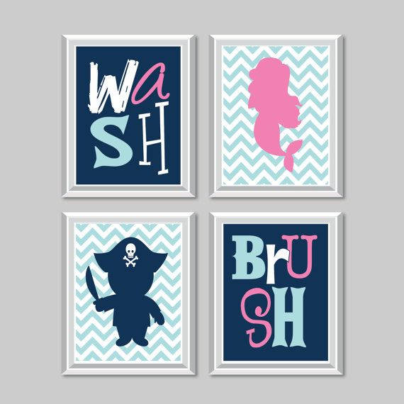 Kid Bathroom Art Print. Mermaid Pirate Bath Art. Mermaid Pirate Bath Decor. Child Bathroom - Child Bath - Mermaid Bathroom Decor (NS-749) #mermaidbathroomdecor