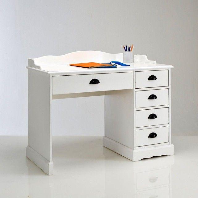 Bureau pin et MDF blanc blanc Authentic Style Avec ses nombreux