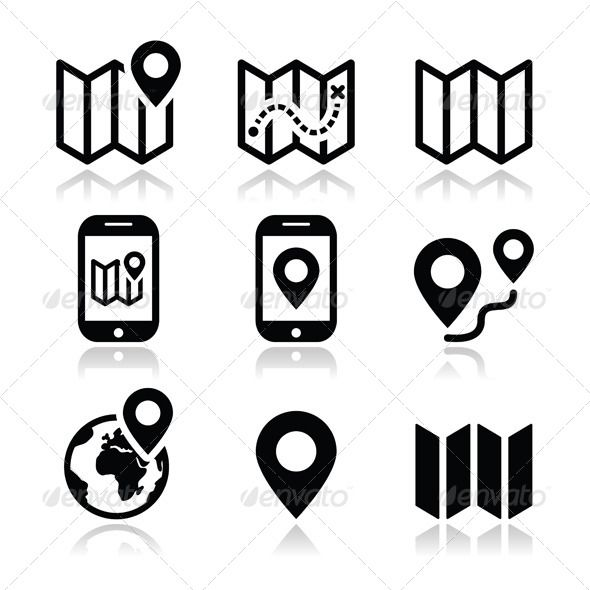 Buy Map Travel Icons Set By RedKoala On GraphicRiver And Navigation Vector Isolated White FEATURES Shapes All Groups Have Names