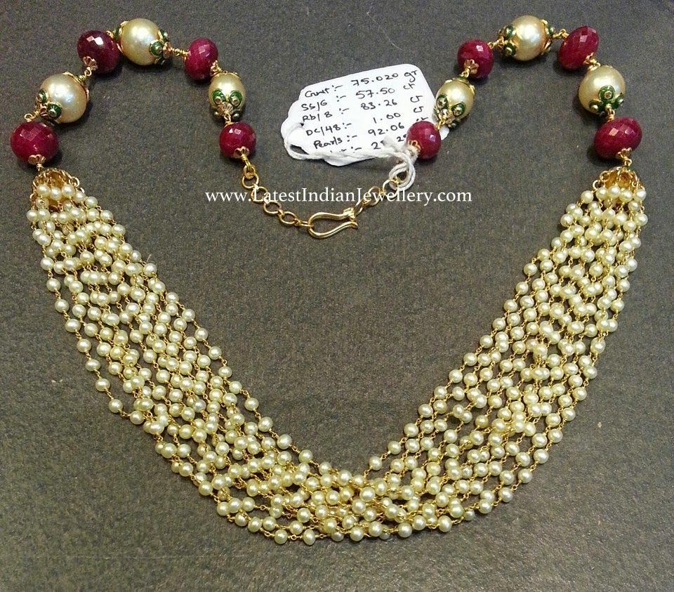 Multi Strand Pearl Beads Necklace | Pearl beads, Bead necklaces ...